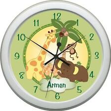 JUNGLE BABIES Bedding Peronalized Wall Clock Nursery Decor