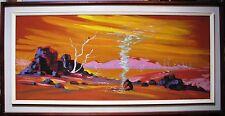 """R E Anning original oil titled """"Outback Australian Scene"""""""
