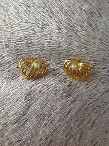 Gold Plated open heart simulated pearl accent stud pierced Earrings Gift