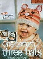 KNITTING PATTERN 3 Baby Animal Hats Bear Cat Dog Hat Ears Girls Boys Sirdar DK