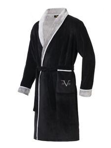 19V69 Versace 1969 Bademantel, Herren, schwarz_grau, Größe L