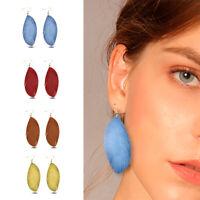 Genuine Leather Earrings Boho Leaf Dangle Drop Ear Hook Women Fashion Jewelry