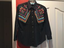 Rodeo Queen Southwest Canyon Black, Beaded Fringe Embroidered western shirt (GC2