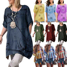 Women T-Shirt Short Sleeve Loose Tunic Long Tops Summer Casual Blouse Plus Size