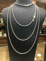 925 Sterling Silver Solid Bead Ball Chain Necklace 2mm Various Lengths NEW