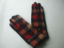 Ladies Checked Fleece Lined Winter Gloves With Leather Strap Orange Red Tones