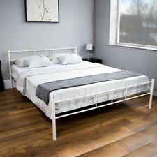 Dorset 5ft King Size Bed White Steel Metal Frame Modern Bedroom Furniture