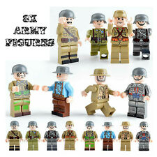 WW2 Military Army Soliders US USSR British- 8x Minifigure Set fit lego bricks