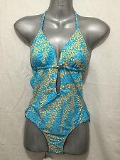 BNWT Ladies Sz 10 Mambo Brand Aqua Orange Padded Cup One Piece Bathers Swim Suit