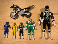 Vintage 94 95 Mighty Morphin Power Rangers Lot Action Figure Toys Motorcycle