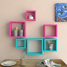 New Wooden Square Shape Wall Shelf Shelves Set Of 6 Multi-Color.