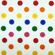 White Polycotton Multi Rainbow SML Spot Fabric P/Metre