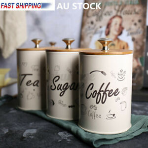 AU Tea Coffee Sugar Kitchen Storage Canisters Jars Pots Containers Tins Box