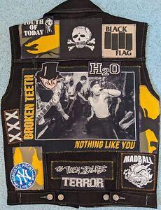 Sleeveless Denim Vest Patch Jacket/Kutte/Battle Jacket. Punk Hardcore Terror H2O