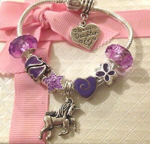 childrens kids girls Luxury purple unicorn heart charm bracelet in gift box