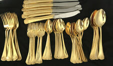 72 Piece Ss Japan Shell Gold Plated Silverware Flatware Service For 6