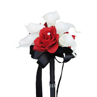 Red & Black Wedding Bouquet - Faux Real Touch Calla Lily with Apple Red Roses