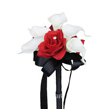 Bouquet-Real Touch calla lily apple red rose with black ribbon