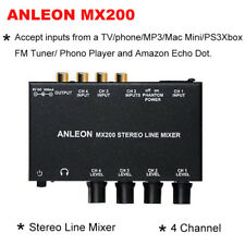ANLEON MX200 Stereo Line Mixer Four-Channel Accept Inputs from Xbox TV phone MP3