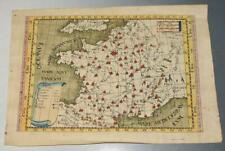 """Early Antique Engraved Hand-Coloured Map of """"Gallia"""" France; Unframed Maps 1703"""