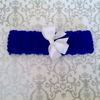 PREMIE OR SMALL NEWBORN BABY CROCHET HEADBAND with ribbon bow - ROYAL BLUE