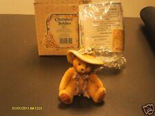 Cherished Teddies ` Millie Love Me Tender -straw hat & lavender flowers 1995