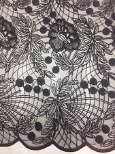 1 Metre Black Embroidery Net Lace  Floral Non Stretch Fabric
