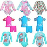 Baby Girls Long Sleeve UPF 50+ Rash Guard Swimsuit Bathing Swimming Beachwear