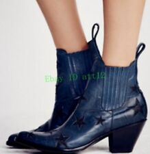 Womens Star Decor Cowboy New Chunky Heel Casual Ankle Boot Pointy Toe Shoes Prom