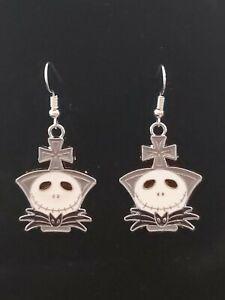 Jack Skellington enamel charm nightmare handmade earrings silver earwires hooks