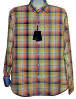 Bugatchi Men's Paradise Yellow Plaids Cotton Button Up Shirt Sz XL Shaped Fit