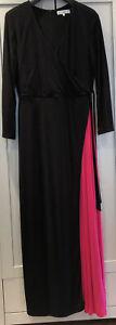 Issa - Long Black Maxi Evening Dress Pink Split - 14