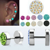 Pair Steel Illusion Plugs w/ Ferido Crystals Cheater Ear Studs Earring 1-4 Pairs