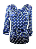 New York & Co Womens Sz Blouse Blue Black White Drape Neck 3/4 Sleeve