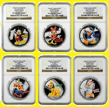 2014 DISNEY CHARACTERS 6 SILVER COINS COMPLETE SET ALL NGC PF 70 UC MINT BOX/COA