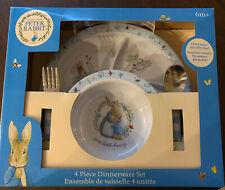 Beatrix Potter Peter Rabbit 4 Piece Melamine Dinnerware Set ~ New !