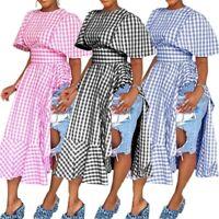 Women Round Neck Checks Print High Waist Side High Slit Casual Clubwear  Dress