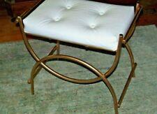 Vtg, Gold Hollywood Regency Vanity Stool w/ White Faux Leather Seat L@@K
