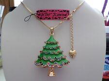 Betsey Johnson Rhinestone Christmas tree Pendant Necklace  with gift box