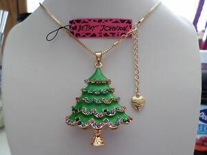 Betsey Johnson Rhinestone Christmas tree Pendant Necklace