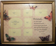 Gold Color Trim Butterfly FRIENDS Collage Glass Picture Photo Frame 7 Pictures