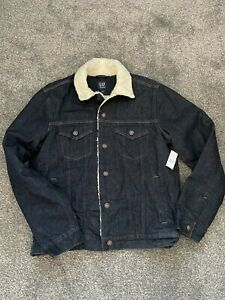 GAP SHERPA BLUE DENIM JACKET MEN'S NEW WITH TAG SIZE M