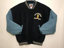 Vintage B.U.M. Equipment Men's Varsity Jacket Lined Size Medium Blue Hip Hop 90s