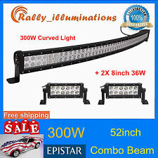 52in SPOT FLOOD 300W CURVED LED LIGHT BAR+2X 8'' 36W OFFROAD JEEP TRUCK LAMP HOT