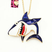 Betsey Johnson Enamel Big Shark Pendant Chain Animal Necklace/Brooch Pin Gift