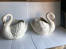 Vintage pearl white Swan Holland Mold old ceramic bird pottery planters (TWO)