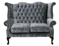 Chesterfield 2 Seater Queen Anne High Back Sofa Modena Regency Grey