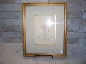 Pierre Bonnard Etching w Authentication Framed Jeune Fille Lisant
