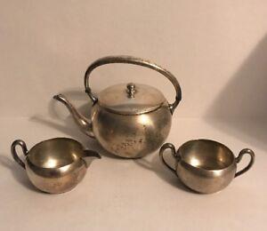 Vintage Academy Silver On Copper Tea Set Creamer - Sugar Bowl - Teapot