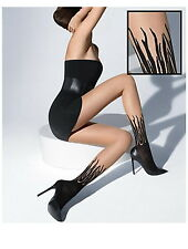 WOLFORD FLAME Tights Pantyhose in Sahara/Black SZ:SMALL S  Ret: $65 New/Packaged